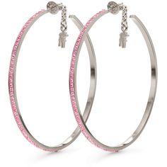 Folli Follie Folli Follie Match N' Dazzle Earrings ($85) ❤ liked on Polyvore featuring jewelry, earrings, pink hoop earrings, hoop earrings, pink jewelry, earrings jewelry and folli follie
