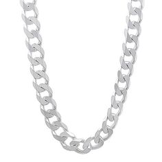 Men's 6.5mm Solid 925 Sterling Silver Cuban Link Curb Chain Necklace, 50 cm…