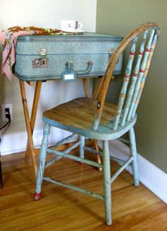 Old suitcase repurposed into a small desk