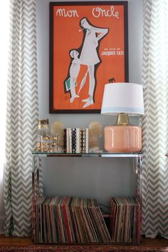 Chevron curtains from AT house tour. Premier Prints ZigZag fabric in Village Blue/Natural.