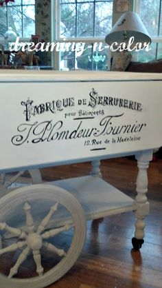 dreamingincolor: French Painted Tea Cart