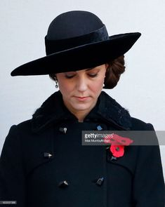 John Boyd Hats -  Catherine, Duchess of Cambridge attends the annual Remembrance Sunday Service at the Cenotaph on Whitehall on November 13, 2016 in London, England. The Queen, senior politicians, including the British Prime Minister and representatives from the armed forces pay tribute to those who have suffered or died at war. (Photo by Max Mumby/Indigo/Getty Images)