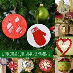 Decoupage is one of the easiest ways to make DIY Christmas ornaments - here are 12 ideas for making some cute ones with Mod Podge!