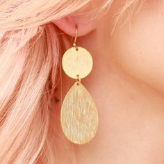 Matte Gold Plated Double Drop Scratch by stitchandstonedesign, $28.00