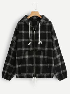 Plaid Drawstring Zip-Up Jacket - Plaid Drawstring Zip-Up JacketFor Women-romwe Source by sabaaydini - Teen Fashion Outfits, Grunge Outfits, Girl Outfits, Cute Casual Outfits, Stylish Outfits, Trendy Hoodies, Vetement Fashion, Mein Style, Hoodie Outfit