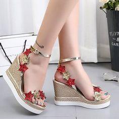 dd67bac65263b Women Fish Mouth Platform High Heels Wedge Sandals Shoes Five-Star Slope  Sandals