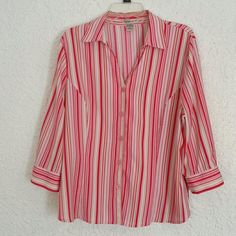 3/4 sleeve button down top 3/4 sleeve multi color striped top, excellent condition, worn a few times. Notations Tops Button Down Shirts