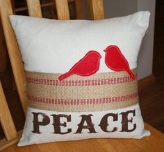 Rustic Peace and Burlap Pillow Sham by ShabbyByMelissa on Etsy, $22.00