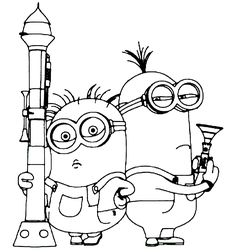 Two Minions Armed Despicable Me 2 Coloring Pages, kids coloring pages, disney coloring pages, despicable me coloring pages, Free online coloring pages and Printable Coloring Pages For Kids