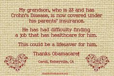 Caroll from Kelseyville, CA is saying #Thanks Obamacare because it is helping her 23 year old grandson with Crohn's Disease survive.