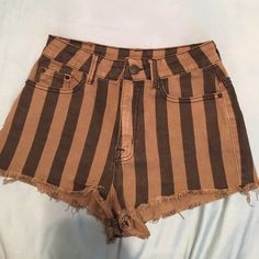 UO High Waist Striped Olive and black shorts Great condition. Worn once. Urban Outfitters Shorts Jean Shorts