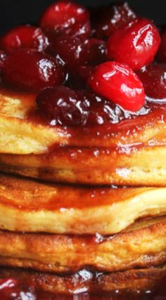 Eggnog Pancakes with Maple Cranberry Syrup Recipe