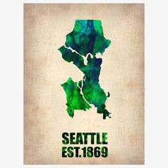 Seattle Map Canvas, $38 - $65, now featured on Fab.