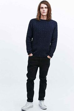Shore Leave Nepped Cable Knit Jumper in Navy