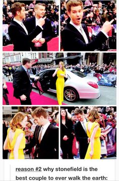 reason #2 why stonefield is the best couple to ever walk the earth: Andrew's reaction after seeing Emma getting out of the car at The Amazing Spider-Man 2 premiere in London, plus him checking her out.
