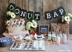 A wedding donut bar with toppings galore! Darling and delectable | Lia Griffith