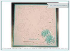 """Karte Dankeschön: Die verwendeten Farben sind Bermudablau, Saharasand und Flüsterweiß. Zum Einsatz kamen die Stempelsets """"Timeless Textures"""" und """"Was ich mag"""" sowie ein paar Perlen. - Stampin' Up! - Kreatives made in Hamburg"""