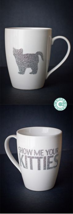 Dishwasher Safe Easy Glitter Show Me Your Kitties Mug are a fun gift for friends- with a unique dishwasher safe method to keep your mug last longer!