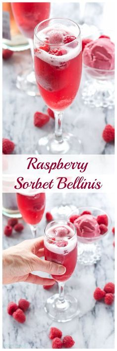 Raspberry Sorbet Bellinis - 3 ingredients is all you need to make these pretty and delicious cocktails - perfect for summer gatherings Fancy Drinks, Cocktail Drinks, Cocktail Recipes, Bourbon Drinks, Margarita Recipes, Drink Recipes, Daiquiri, Refreshing Drinks, Summer Drinks