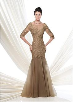 Elegant Tulle Bateau Neckline Mermaid Evening Dress with Beaded Lace Appliques #selectprom
