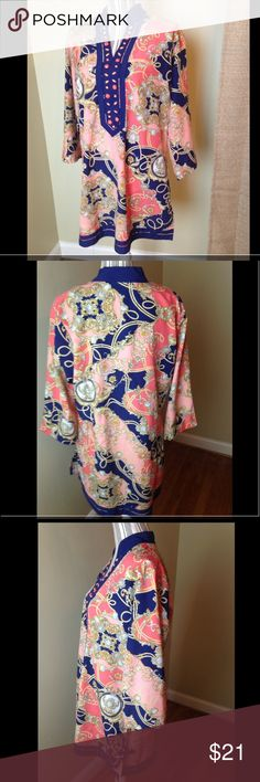Ashley Stewart Tunic women's sz 12 EUC • This Top measures 23 inches from armpit to armpit measuring 46 inches across...  • the length is 33 inches long..  • No signs of wear..I take care of all my items and value every customer.  • Looks new...in great condition ...  • All items are stored in a clean and smoke free environment.  • As I want your item to arrive to you on time, I ship fast.  • Thanks for viewing!! Have an awesome day!!! Ashley Stewart Tops Tunics