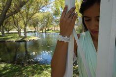 Bridal cuff, Bridal Bracelet, Beaded Bridal bracelet, Crystal Bridal Bracelet, Rhinestone bridal Cuff, Rhinestone and Ribbon Bracelet