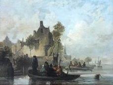 Online veilinghuis Catawiki: Anthonie .Waldorp ( 1803 - 1866) - Toegeschreven aan  - Stadsgezicht van af  het water