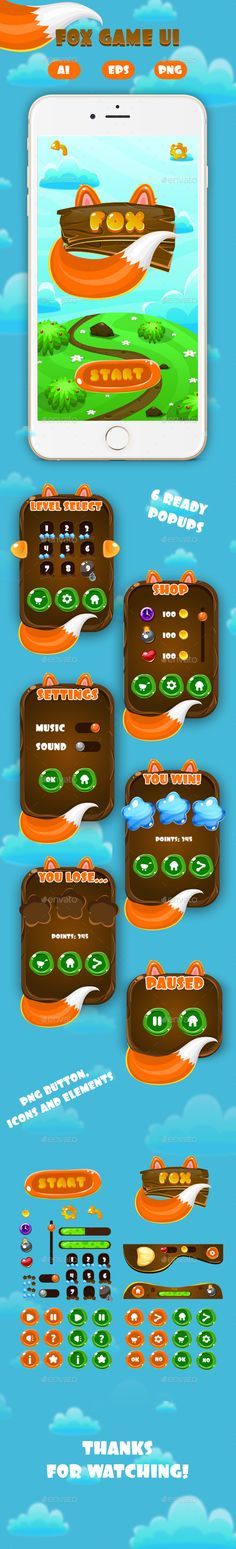 Fox Game Interface Pack - User Interfaces #Game Assets Download here: https://graphicriver.net/item/fox-game-interface-pack/19531990?ref=alena994