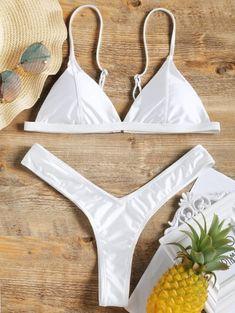 91a77ab683 High Cut Thong Bikini Set  Fashion  Womens  Swimwear  White Thong Bikini