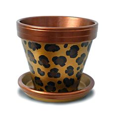 Must have for your home jungle (garden)!  Painted Copper And Gold Leopard Animal Print Plant 6-inch Pot in Etsy