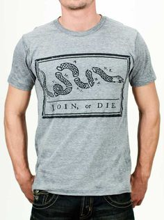 Join or Die t-shirt from Declaration Clothing; This shirt depicts the iconic wood-cut popularized by master printer Benjamin Franklin. During the Revolutionary War, it became a call to action for the colonies to unite and fight against British tyranny.