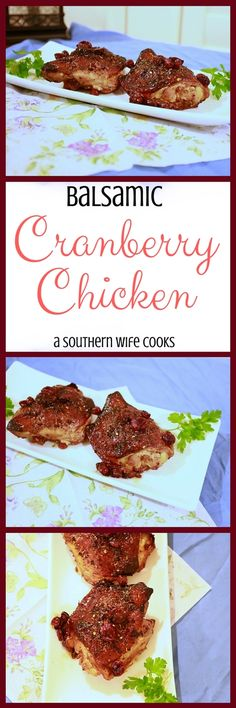 So easy and healthy too! Balsamic Chicken Thighs, Bone In Chicken Recipes, Healthy Meals, Healthy Recipes, Cranberry Chicken, Winner Winner Chicken Dinner, Dinner Is Served, Heavenly, Poultry