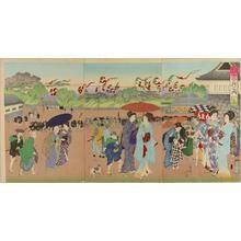 豊原周延: July- Tanabata Festival at Sujikai — 七月 七夕筋違 - Japanese Art Open Database