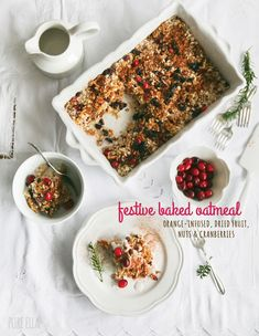 Festive Baked Oatmeal : orange-infused, with dried fruit, nuts and cranberries | Pure Ella