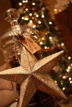 Vintage Christmas-glass jar, pine cones, twine, star, and tag...probably all at dollar tree. Great for mantle