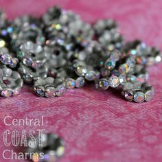 10 mm Aged Silver Czech AB Crystal Rhinestone Rondelle Spacers 16 pcs - Wavy Edge - Vintage Style - Aurora Borealis