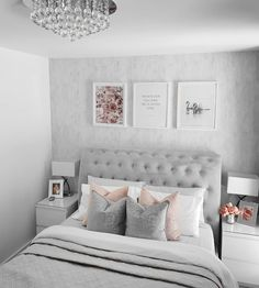 Cheap Home Decor .Cheap Home Decor Bedroom Decor Pictures, Bedroom Decor For Couples, Room Ideas Bedroom, Girl Bedroom Designs, Small Room Bedroom, Girls Bedroom, Grey Bed Room Ideas, Grey Bedroom Design, Green Bedroom Decor