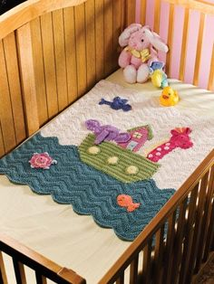 Crochet a Noah's Ark baby blanket for new baby to treasure for years to come.