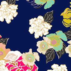 Jungle Passion navy extra large wallpaper for Jame fabric by joanmclemore on Spoonflower - custom fabric
