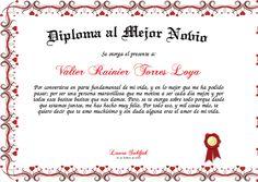Diploma al Mejor Novio Certificate