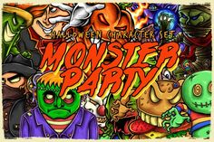 Monster Party ( Halloween Character Set ) By TSV Creative