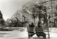 Couple seated on a bench viewing the Climatron construction at the Missouri Botanical Garden. (1960)