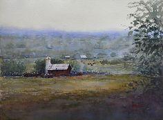 Smoke on the Farm by Judy Mudd Watercolor ~ 12 x 16