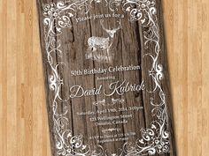 Deer Hunting Birthday Invitation for Men. Rustic by arthomer, $10.00