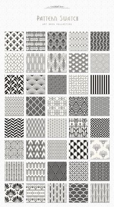Complete Textures and Patterns Collection The Creative Designer's Colossal Treasure Chest - The Paper Town's Art Deco Seamless Patterns Motif Art Deco, Art Deco Pattern, Art Deco Design, Art Deco Print, Zentangle Drawings, Zentangle Patterns, Zen Doodle Patterns, Doodles Zentangles, Mandala Design