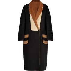 Max Mara Kipur coat (€3.000) ❤ liked on Polyvore featuring outerwear, coats, coats & jackets, black multi, maxmara, wool blend coat, double-breasted coat, slim coat and reversible coat