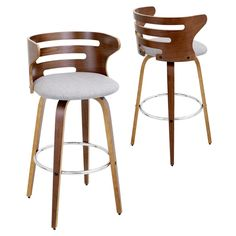Tapered bent wood legs are joined by a circular chrome footrest for support and durability. The walnut wood backrest of the LumiSource Cosini Barstool hugs the body with graceful, curved lines. Color:
