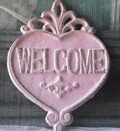 Shabby Chic Cottage Heart Welcome Sign / Plaque by happybdaytome, $15.00