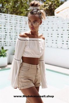 Damen Sommer Shirt Schulterfrei weiß
