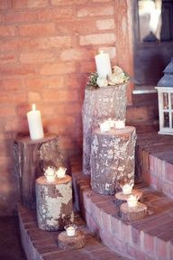 citronella candles around the patio on Logs... looks good to me